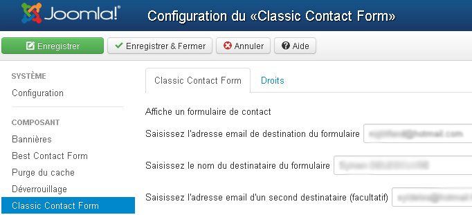 component classic contact form j3x back config parameters